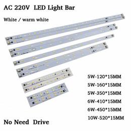Tubo t5 6w online-10 unids AC220v LED Light Bar tira rígida sin conductor para T5 T8 tubo, 5w 6w 10w 180-260v SMD5730 pcb Fuente de luz alta Brightnes