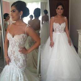 Vestido de noiva com renda removível com renda on-line-Saia removível Sereia Vestido de Casamento Cintas de Espaguete Ilusão Lace New Design Moderno Vestidos De Noiva Tamanho Personalizado