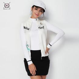 collar sin mangas chaquetas chicas Rebajas 2018 Otoño chaqueta de golf Dama de los deportes Sin mangas chaleco suéter camisa Collar de soporte ropa de golf niña abrigo exterior camisa de mujer