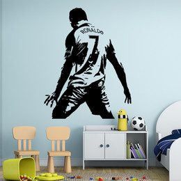 Wholesale Bedroom Wall Vinyl - Cristiano Ronaldo Vinyl Wall Sticket Soccer Athlete Ronaldo Wall Decals Art Mural For Kis Room Living Room Decoration 44*57 cm