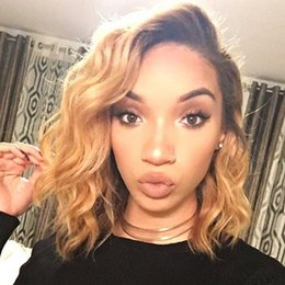Wholesale Short Wigs For Women Blonde - Two Tone Ombre Human Hair Lace Front Wig for Black Women Brazilian Virgin Hair Ombre 1b 27 Brazilian Body Wave Short Bob Wig