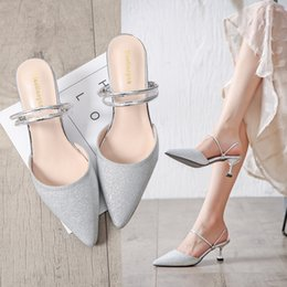 3662d3230161 gold silver glitter slippers closed pointed toe sandals women strange high heels  summer shoes bling narrow band flip flops y545