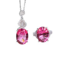 En gros marque zircon 925 argent sterling pierre précieuse naturelle topaze rose bague en cristal pendentif collier bijoux ensemble ? partir de fabricateur