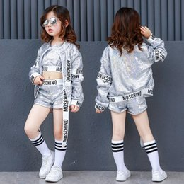 5878eb60c837 Kids Girls Silver Sequin Dance Costumes for Hip Hop Jazz Adult Women  Children Modern Summer Hiphop Dancing Clothes