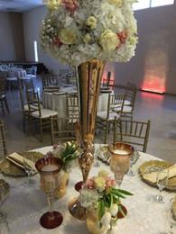 2018 último 88 cm Plata o oro floreros de la boda Mesa de centro de mesa suministros de la boda titular de la flor de metal alto puesto de flores decoración del partido desde fabricantes