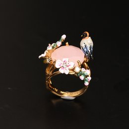 Wholesale Ladies Cherry - France Famous Brand Jewelries Cherry Blossoms Bird Diamond Rings For Lady Top Quality Les Nereides Enamel Fashion Jewellry