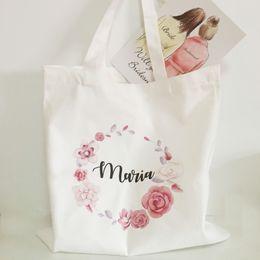 Presentes nupciais exclusivos do partido on-line-Sacos de presente de dama de honra personalizado bridal party tote bag presentes de casamento pacote único 5 pcs lote frete grátis