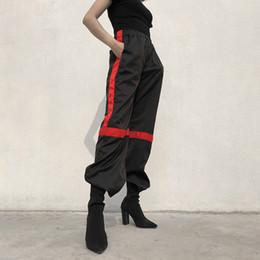 Wholesale black baggy trousers women - Women Fashion High Waist Wide Let Pants Black Loose Patchwork Casual Pants 2018 New Baggy Elastic Waist Pantalon Trouser