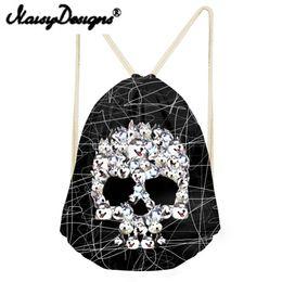 zaini del cranio dei ragazzi Sconti NOISYDESIGNS Cool Punk Skull Printing da uomo con coulisse Zaino Tote String Shoulder per adolescenti Ragazzi Harajuku borse