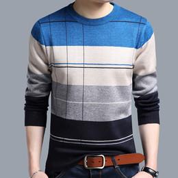 2019 uncinetto a righe Maglioni di pullover da uomo in cotone maglione casual Maglioni a maglia lavorati a maglia lavorati a maglia a strisce da uomo masculino uncinetto a righe economici