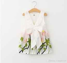 Wholesale Girls Simple Cotton Dresses - Ins New Arrival Girl elegant dress 100% cotton sleeveless flower emboridery back V hollow out dress girl kids casual simple dress