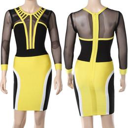 vestidos estampados de flores Rebajas Vender inventario a precios bajos vestido de fiesta de moda clásico Costura de vestido de noche de cuello redondo de manga larga de color negro y amarillo