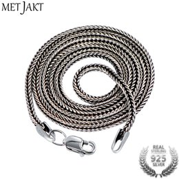 thai silver chains Coupons - MetJakt Vintage 1.6mm S925 Sterling Silver Snake Chain Fit Pendant Charm for Unisex Thai Silver Necklace Jewelry 40cm-75cm