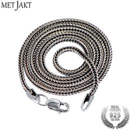 Thailändische anhänger online-MetJakt Vintage 1.6mm S925 Sterling Silber Schlangenkette Fit Anhänger Charme für Unisex Thai Silber Halskette Schmuck 40cm-75cm