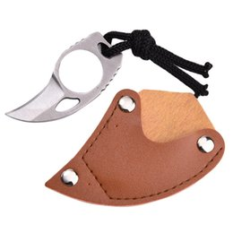Wholesale Leather Knife Sheaths Wholesale - Mini MC Pocket Karambit with leather sheath cutter portable claw knife tool Outdoor camp gadget Survive box package opener open