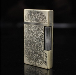 Wholesale Thin Gas Cigarette Lighter - New Arrival Wealthy relief flowers ultra - thin grinding wheel Torch Lighter smoking metal Butane gas lighter