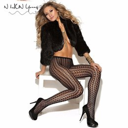 Wholesale Wholesale Clubwear For Women - Wholesale-Women Pantyhose Sexy Female Stockings Fishnet Tights Sheer Black Fashion Plus Size Dance Street For Girls Clubwear Stripe SW116