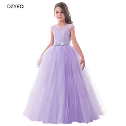 Wholesale teenager pageant dresses - Teenager Girl Floral Pageant Bridesmaid Dresses Carnaval Costume Kid Backless Bow Lace Prom Wedding Princess Frock Children Dress