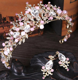 Wholesale tiaras end crowns - 2018 Romantic High End Pink Crystals With Rose Gold Designer Head Tiaras Crowns Wedding Accessories For Party Prom Headpieces Cheap New