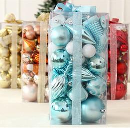 2019 set di sfera di albero di natale FANLUS 50pcs Ornamenti di palle di Natale Set ciondoli di palline decorative con pacchetto regalo riutilizzabile tenuto in mano per l'albero di Natale set di sfera di albero di natale economici