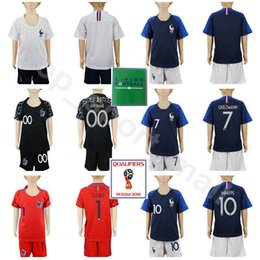 Wholesale boy cups - Youth Soccer Jersey 2018 World Cup Kids Set 7 GRIEZMANN 6 POGBA 10 MBAPPE MATUIDI Hugo Lloris Goalkeeper Football Shirt Kits With Short