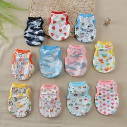 Wholesale cute plaid shirts - Colorful Cartoon Pet Shirt Cute Breathable Thin Style Puppy Vests Easy To Clean Dog Cat Clothes Popular 4 5md B