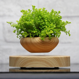 Wholesale magnetic flowers - LED Levitating Air Flower Pots Novelty Anti Computer Radiation Planters Wooden Round Magnetic Floating Bonsai New Arrival 186 2sq BB