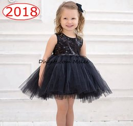 Wholesale Wholesale Black Lace Evening Dresses - INS Girls Black Sequin tutu Dresses Lace ruffle Skirts Girl Performance Stage Evening Dress Kids Sleeveless Princess Dress 1-6years free