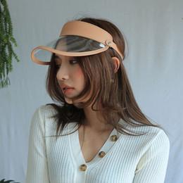 cc1c6accaa2 2018 Summer Unisex Clear Plastic PVC Empty Top Hat PU Leather Sun Visor Hat  UV Protection Beach Caps