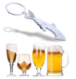 Chaveiro único do abridor de garrafas on-line-Shark Shaped Bottle Opener Chaveiro em forma de liga de zinco Cor Prata Anel Chave Beer Bottle Opener Presente Criativo Único