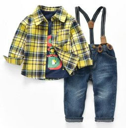 Wholesale Overall Jeans Baby - 2018 new spring plaid baby boys denim shirt+t shirt+jeans clothing sets 3pcs spring autumn boys clothes sets boys denim overall