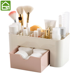 desk makeup organizer Canada - Cosmetic Jewelry Organizer Office Storage Drawer Desk Makeup Case Plastic Makeup Brush Box Lipstick Remote Control Holder