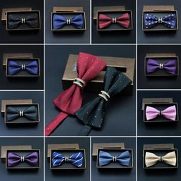 Wholesale polka dot wine - Fashion Business Bow Ties for Men Crystal Bowties Wedding Metal Bow Tie Wine red Wholesale Accessories Necktie Black Butterflies male party