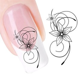 nail water decals black Promo Codes - Water decals DIY Black Flower Water Transfer Slide Decal Sticker Nail Art Tips To Decoration nail sticker set 0925