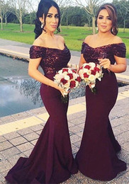 Wholesale Stocked One Shoulder Bridesmaid Dresses - Fashion Burgundy Mermaid Bridesmaid Dress CHeap Long 2018 Off the shoulder With Short Sleeves Sequined Prom Evening Formal Dresses For Women