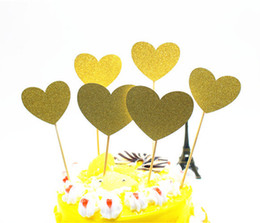 Wholesale Hearts Cake Toppers - 6pcs lot Creative Love Heart Cake Flag Topper Single Stick Flags Multi Colors For Wedding Birthday Party Cake Baking Supplies