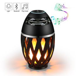 Wholesale Led Dancing Speakers - LED Flame Table Lamp Bluetooth Speaker Outdoor Portable Stereo Speaker Atmosphere Light USB Charging with 96 LED Flickers Dancing Light
