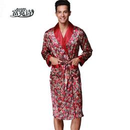 Abiti da casa online-Uomo sexy in raso con scollo a V abito in seta sintetica a maniche lunghe casa Kimono accappatoio maschile pigiameria da notte moda vestaglia