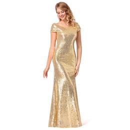 2019 vestidos de noite de lantejoulas da mulher MisShow Mulheres Sparkly Rose Gold Longas Lantejoulas Vestido de Dama de Honra 2018 Prom / Evening Vestidos de Noite Vestidos de Festa barato sob desconto vestidos de noite de lantejoulas da mulher