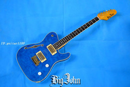 Wholesale Hollow Electric Guitar F Hole - free shipping new Big John F hole hollow single wave electric guitar with gold hardware package edge bule F-1529