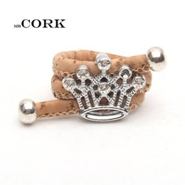 Wholesale R Clustering - whole saleCork ring Rhinestones Crown ring Wood color Handmade jewelry adjustable the size of the ring,R-057
