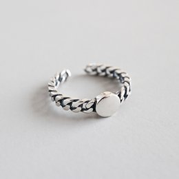 Jsmpfy 925 Sterling Silver Twisted Open Rings For Women Simple Antique Round Adjustable Ring Fine Jewelry Party Gifts от