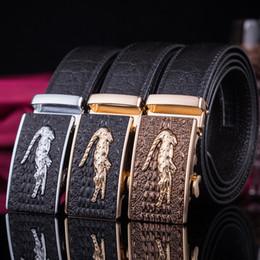 2019 krokodilbänder Qualitäts-Design männlichen Krokodil echten Ledergürtel modischen Business beliebte automatische Schnalle Gürtel Chef rabatt krokodilbänder