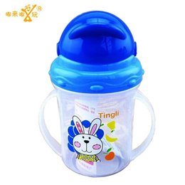 Wholesale Plastic Baby Diapers - Updated Durable Baby diaper Kids Straw Cup Drinking Bottle Sippy Cups With handles Cute Design Feeding Bottle PP Plastic SGS