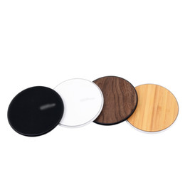Wholesale Uk Bamboo - Wood Wireless Chargers For All Android Device - Black White iPhone Sumsung Qi Fast Walnut Bamboo PC Round Shape Cell Phone Pad OTH862