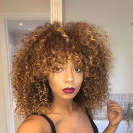 Pelucas de mejor calidad barata online-Nuevo Hot Afro Kinky rizado pelucas delanteras del cordón para las mujeres negras de fibras sintéticas de calor Glueless Ombre Brown barato con la mejor calidad