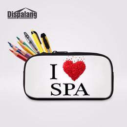 Borse spagna online-Custodie per il trucco delle donne sveglie di Dispalang I Love Spain Stampa le borse di matita per le ragazze Scuola Pencilcase Cartoleria Sacchetto dell'organizzatore di immagazzinaggio