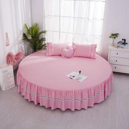 ropa de cama de estilo princesa rosa Rebajas One Piece 100% Algodón Redondo Cama Falda Diámetro 2 m 2.2 m Hoja Pink Princess Style ZM6