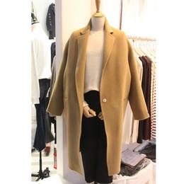2019 più il cappotto di plaid rosso di formato 2018 donne inverno nuovo arrivo Khaki woolen risvolto colletto manica lunga tasche coperte con bottoni medio cappotto lungo miscele outwear