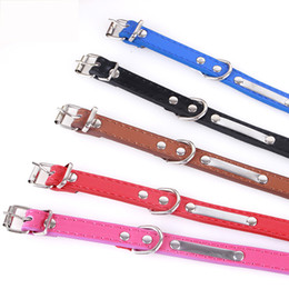 Wholesale Engraved Necklace Name - Small Big Dog Leather Collar Metal Engraved Personalized Necklace for Dogs Cat Anti-lost Collars (Name Phone Identification)